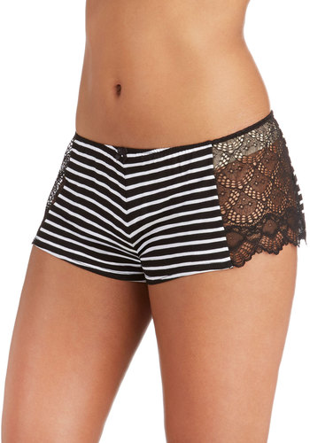 Sweet in Stripes Sleep Shorts by Only Hearts - Sheer, Knit, Black, White, Stripes, Lace, Lace