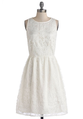 Entirely Enchanting Dress in Ivory - White, Lace, Bride, A-line, Sleeveless, Better, Scoop, Knit, Long, Exposed zipper, Graduation, Variation, Wedding, Lace
