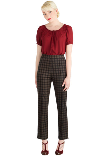 The Sweet Life Pants in Plaid by Myrtlewood - Woven, Black, Plaid, Work, Menswear Inspired, Vintage Inspired, Scholastic/Collegiate, High Waist, Ultra High Rise, Full length, Black, Exclusives, Variation, Private Label, Non-Denim, Cropped, Fall, Winter