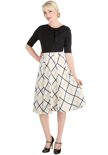 Porch Elegance Skirt by Bea & Dot - Woven, Long, White, Plaid, Party, Casual, Vintage Inspired, High Waist, Midi, White, A-line, Exclusives, Private Label