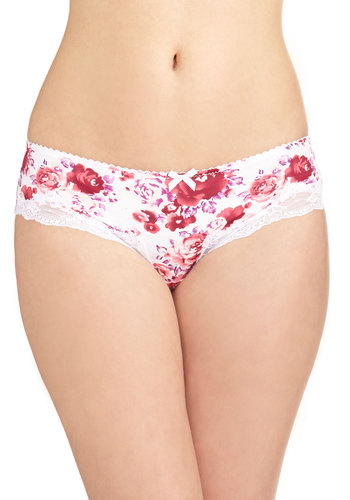 Garden Party Primer Undies - Pink, White, Floral, Sheer, Knit, Bows, Lace, Lace