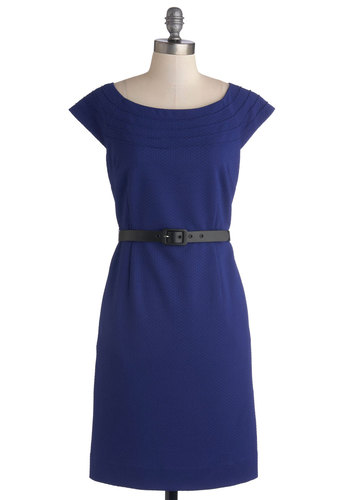 Lead by Example Dress by Myrtlewood - Knit, Mid-length, Blue, Solid, Belted, Work, Sheath / Shift, Cap Sleeves, Better, Scoop, Pockets, Exclusives, Private Label