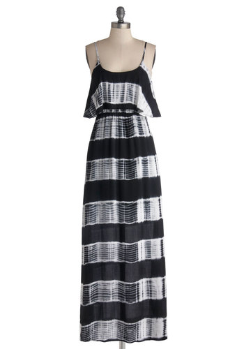 Coast to Costa Rica Dress - Long, Cotton, Woven, Black, White, Stripes, Casual, Maxi, Spaghetti Straps, Good, Beach/Resort, Festival, Summer