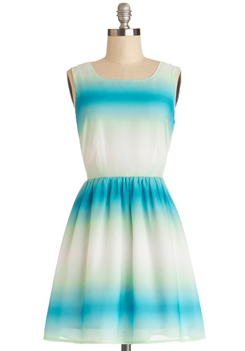 Serene Dreaming Dress by Jack by BB Dakota - Multi, Ombre, Backless, Casual, A-line, Sleeveless, Good, Scoop, Chiffon, Sheer, Woven, Mid-length, Multi, Blue, Beach/Resort, Festival, Sundress, Spring