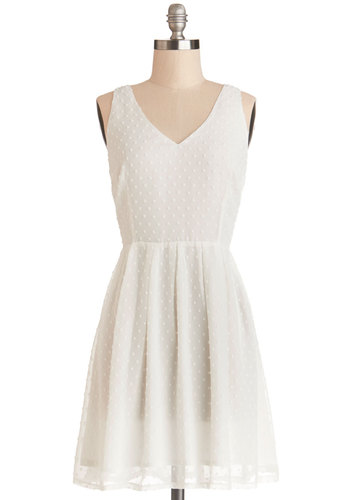 Beneath Sunny Skies Dress by BB Dakota - White, Pleats, Daytime Party, A-line, Sleeveless, Better, V Neck, Chiffon, Sheer, Woven, Graduation, Mid-length