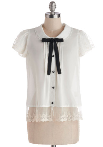 Library Gala Top - Chiffon, Sheer, Woven, Mid-length, White, Buttons, Peter Pan Collar, Tie Neck, Vintage Inspired, Darling, Short Sleeves, Collared, White, Short Sleeve, Black, Lace, Lace