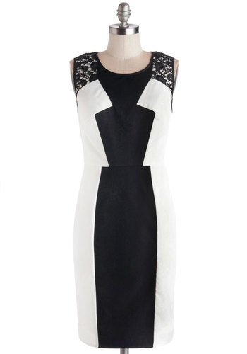 Executive By Design Dress - Sheer, Woven, Mid-length, Black, White, Crochet, Work, Sleeveless, Better, Exposed zipper