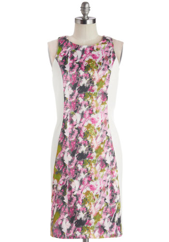 Alyssum Abstract Dress - Knit, Woven, Mid-length, Floral, Daytime Party, Sheath / Shift, Sleeveless, Better, Multi, Pink, White, Exposed zipper