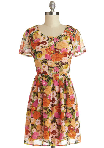 City Music Festival Dress - Chiffon, Sheer, Woven, Mid-length, Multi, Floral, Buttons, Cutout, Casual, A-line, Short Sleeves, Good, Scoop, Festival