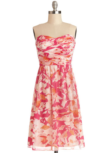 Bouquet of the Season Dress - Woven, Short, Pink, Floral, Ruching, Wedding, Bridesmaid, A-line, Strapless, Better, Sweetheart, Prom, Valentine's, Spring