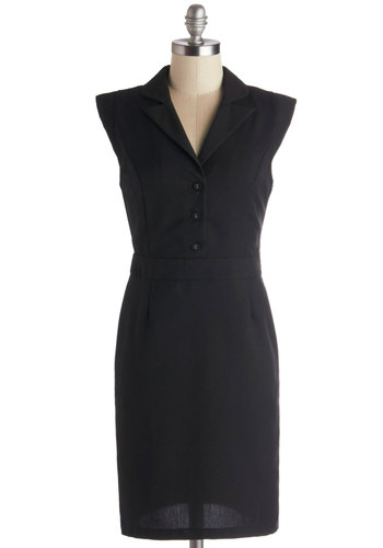 Enchanting Entrepreneur Dress - Woven, Black, Solid, Buttons, Work, Shift, Cap Sleeves, Good, Collared, Mid-length