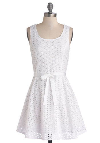 White Sand Beaches Dress by Jack by BB Dakota - White, Solid, Eyelet, Belted, A-line, Sleeveless, Better, Scoop, Cotton, Woven, Graduation, Short, Sundress, Casual, Americana, Summer, Show On Featured Sale