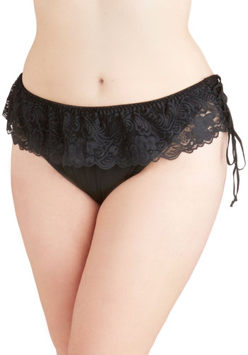 Feeling Foxy Thong in Noir - Plus Size - Sheer, Knit, Black, Solid, Lace, Boudoir, Variation, Lace