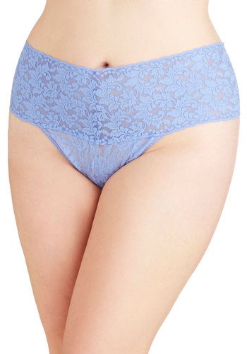 Hanky Panky Mellow Mornings Thong in Periwinkle - Plus Size by Hanky Panky - Knit, Sheer, Blue, Solid, Lace, Boudoir, Variation, Lace