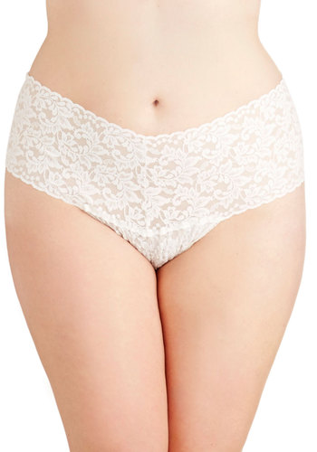 Hanky Panky Mellow Mornings Thong in Cream - Plus Size by Hanky Panky - Sheer, Knit, White, Solid, Lace, Boudoir, Variation, Lace