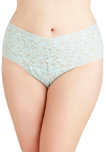 Hanky Panky Mellow Mornings Thong in Mint - Plus Size by Hanky Panky - Sheer, Knit, Mint, Solid, Lace, Lace