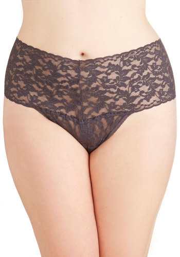 Hanky Panky Mellow Mornings Thong in Charcoal - Plus Size by Hanky Panky - Sheer, Knit, Grey, Solid, Lace, Lace, Wedding, Bridesmaid