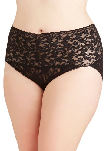 Hanky Panky Lacy and Lovely Undies in Black - Plus Size by Hanky Panky - Sheer, Knit, Black, Solid, Lace, Boudoir, Variation, Lace