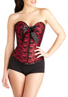 Night of Fancy Corset - Red, Black, Bows, Lace, Valentine's, Pinup, Vintage Inspired, Boudoir, Woven, Lace