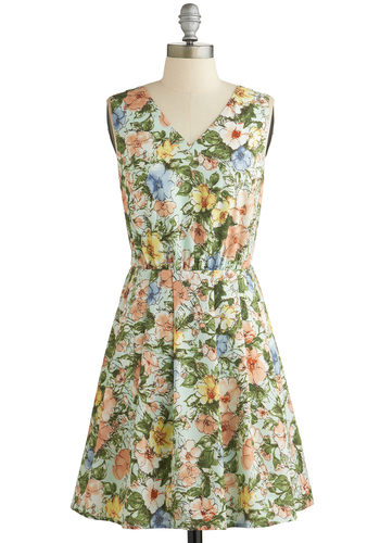 Paint Me a Picturesque Dress - Multi, Floral, Pleats, Daytime Party, A-line, Sleeveless, Good, V Neck, Backless, Spring, Woven, Mid-length