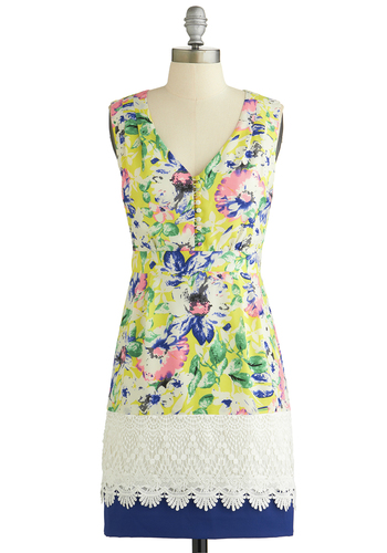 Venetian Vacation Dress - Multi, Floral, Buttons, Lace, Daytime Party, Shift, Sleeveless, Better, V Neck, Crochet, Woven, Mid-length, Spring