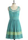 Blue Skies Ahead Dress - Blue, Yellow, Lace, Casual, A-line, Tank top (2 thick straps), Better, Scoop, Mid-length, Sheer