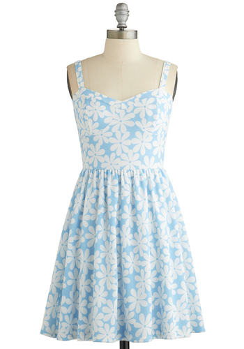 Clear as Daisies Dress - White, Floral, Casual, A-line, Sleeveless, Good, Sweetheart, Blue, Knit, Short, Sundress, Spring, Pastel, Vintage Inspired, 90s