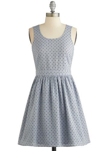 What a Wonderful Twirl Dress - Blue, Black, Polka Dots, Casual, A-line, Tank top (2 thick straps), Scoop, Short, Cotton, Denim, Woven, Spring, Summer