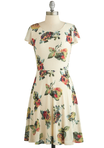Time for Growth Dress - Cream, Multi, Floral, Casual, A-line, Short Sleeves, Good, Scoop, Knit, Mid-length, Spring