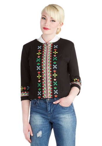 Snazzy Start Jacket by Tulle Clothing - Black, Red, Yellow, Print, Embroidery, Boho, 3/4 Sleeve, Good, 1, Knit, Woven, Short, Pockets, Spring, Festival