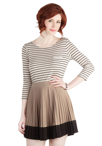 Cupcake Liner Skirt - Tan, Pleats, A-line, Work, Brown, Top Rated, Colorblocking, Scholastic/Collegiate, Spring, Fall, Good, Short