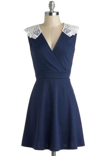 Tea Time of Day Dress - Blue, White, Solid, Lace, Party, Daytime Party, A-line, Sleeveless, V Neck, Woven, Mid-length
