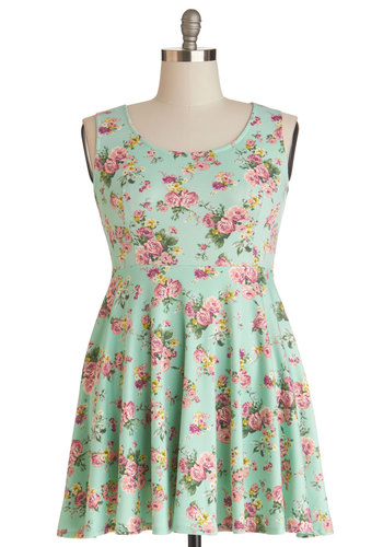 Day Off the Grid Dress in Mint - Plus Size - Knit, Mint, Multi, Floral, Casual, Tank top (2 thick straps), Good, Scoop, Variation, Spring, Sundress