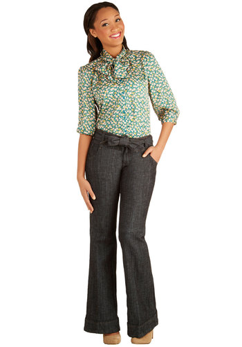 Off to the Office Pants - Wide Leg, Good, Low-Rise, Dark Wash, Full length, Blue, Denim, Woven, Solid, Pockets, Belted, Work, Denim, Spring