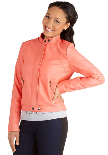 The Bright of Day Jacket by Jack by BB Dakota - Faux Leather, 2, Pink, Solid, Exposed zipper, Urban, Long Sleeve, Spring, Short