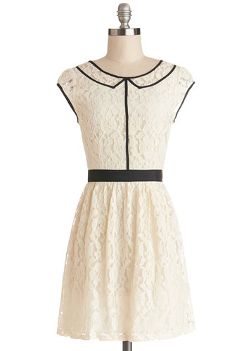 Fab Impression Dress by Jack by BB Dakota - Cream, Black, Lace, Trim, Daytime Party, A-line, Cap Sleeves, Better, Scoop, Sheer, Knit, Woven, Mid-length, Lace