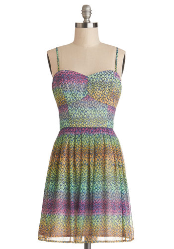 Dinner and Prancing Dress by Jack by BB Dakota - Multi, Party, A-line, Spaghetti Straps, Better, Woven, Short, Print, Sweetheart, Festival, Spring