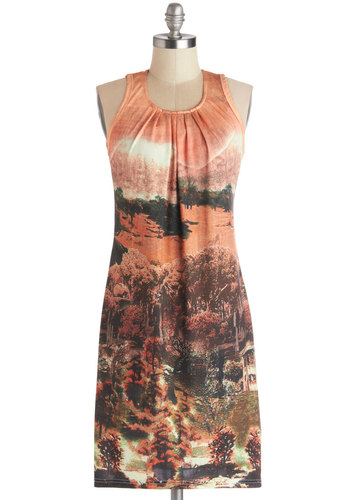 Sunset Vista Dress - Knit, Mid-length, Orange, Multi, Casual, Sheath / Shift, Tank top (2 thick straps), Good, Novelty Print, Scoop