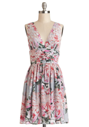 Pretty and Picturesque Dress by BB Dakota - Floral, Pleats, A-line, Sleeveless, Better, V Neck, Chiffon, Woven, Mid-length, Multi, Pink, Daytime Party, Graduation, Spring