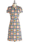 Quite an Impression Dress in Daisies - Knit, Long, Multi, Floral, Buttons, Casual, Vintage Inspired, Shirt Dress, Short Sleeves, Better, Collared, 60s, Variation, Top Rated