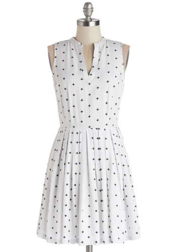 In Addition Dress by BB Dakota - White, Black, Novelty Print, Pleats, Casual, A-line, Sleeveless, Better, V Neck, Sheer, Woven, Mid-length, Cutout, Scholastic/Collegiate, Sundress, Spring