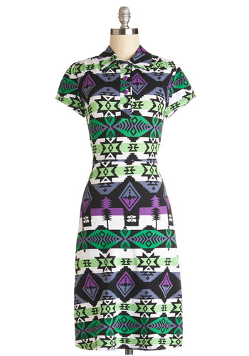Quite an Impression Dress in Geometric - Cotton, Knit, Multi, Print, Buttons, Casual, Shirt Dress, Short Sleeves, Better, Collared, Mid-length, Green, Purple, White, Variation