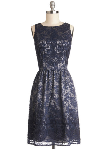 Entirely Enchanting Dress in Navy - Knit, Long, Blue, White, Lace, Party, A-line, Sleeveless, Better, Wedding, Bridesmaid, Exposed zipper, Exclusives, Variation, Lace, Cocktail