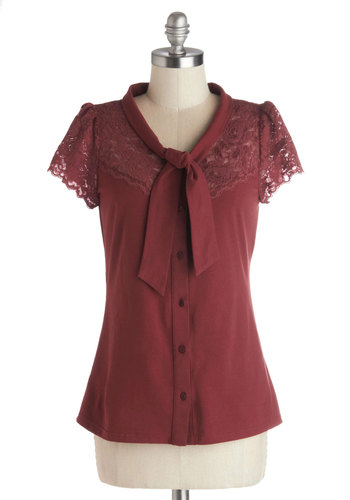Everything's Beautiful Top in Crimson - Cotton, Sheer, Knit, Mid-length, Red, Solid, Buttons, Lace, Tie Neck, Work, Darling, Short Sleeves, Exclusives, Red, Short Sleeve, Lace