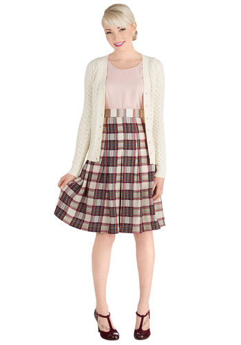 Chess Club Championship Skirt - Woven, Long, Plaid, Work, Scholastic/Collegiate, High Waist, Pleats, Cream, A-line, Fall, Winter, Better, White