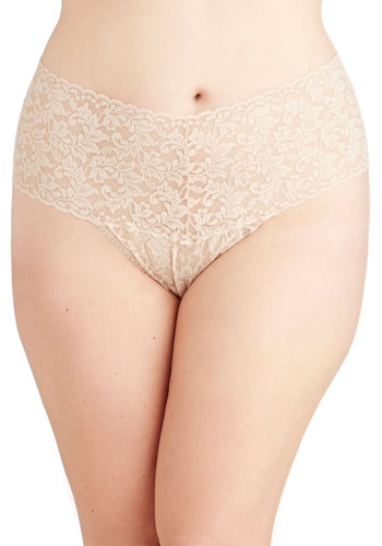 Hanky Panky Mellow Mornings Thong in Beige - Plus Size by Hanky Panky - Sheer, Knit, Cream, Solid, Lace, Bride, Boudoir, Variation, Lace