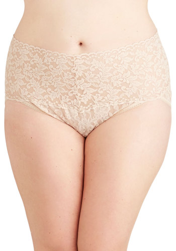 Hanky Panky Lacy and Lovely Undies in Taupe - Plus Size by Hanky Panky - Sheer, Knit, Cream, Solid, Lace, Boudoir, Variation, Wedding, Bride, Lace