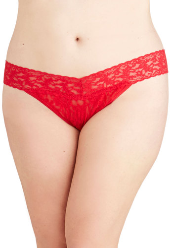 Hanky Panky Bright From the Start Thong in Red - Plus Size by Hanky Panky - Knit, Sheer, Red, Solid, Lace, Valentine's, Boudoir, Variation, Lace
