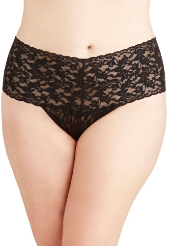 Hanky Panky Mellow Mornings Thong in Black - Plus Size by Hanky Panky - Sheer, Knit, Black, Solid, Lace, Boudoir, Variation, Lace