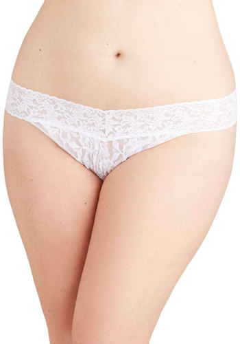 Hanky Panky Bright From the Start Thong in White - Plus Size by Hanky Panky - Sheer, Knit, White, Solid, Lace, Bride, Variation, Lace